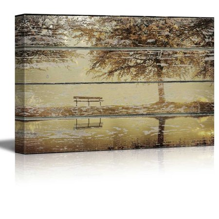 """wall26 - Canvas Wall Art - Autumn View with a Tree by a Lake on Vintage Wood Textured Background - Rustic Country Style Modern Giclee Print Gallery Wrap Home Decor Ready to Hang - 32"""" x 48"""""""