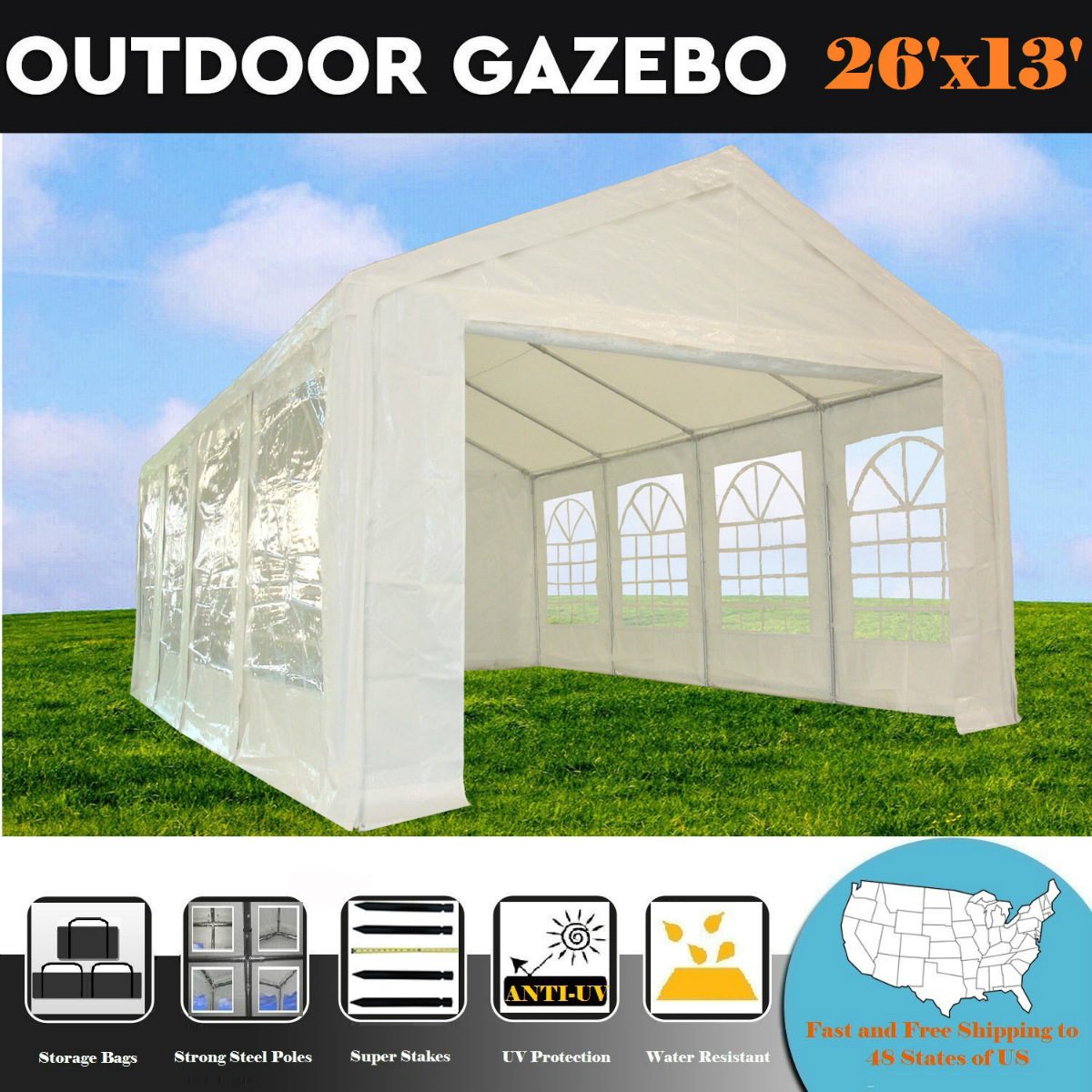 26'x13' PE White Tent - Heavy Duty Party Wedding Tent Canopy Carport - By DELTA Canopies