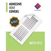 VENT COVER ADHESIVE Register Cover for Air Vents & Looks like a Vent Grille! An AC Vent Deflector that's Peel n Stick - Pure White Sheet - 8 inch X 15 inch (6 Pack)