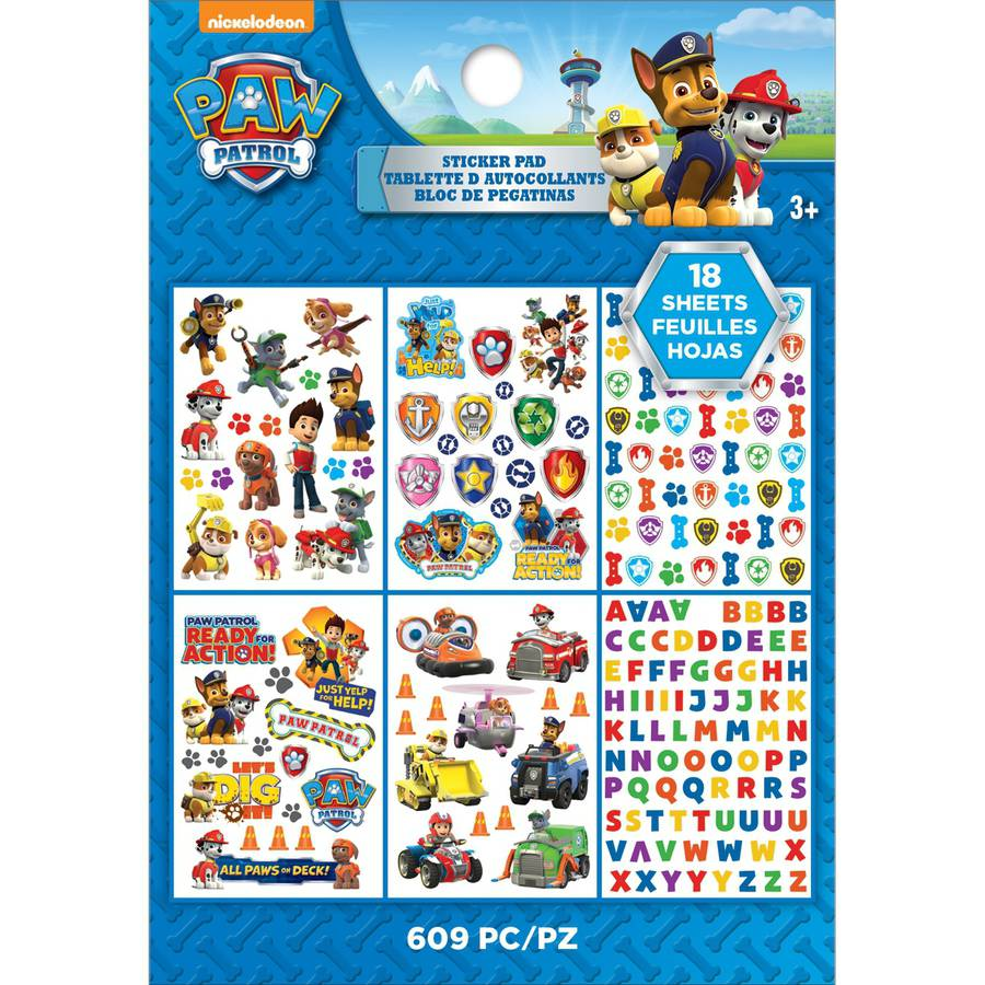 3 x PAW PATROL Sticker Sheets Contains 36 Stickers Ideal Party Bag Stickers