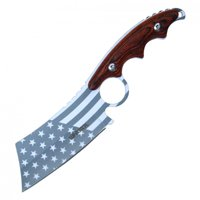 "Tactical Knife 8.25"" Overall American Flag Wood Handle Hunting Cleaver + Sheath"