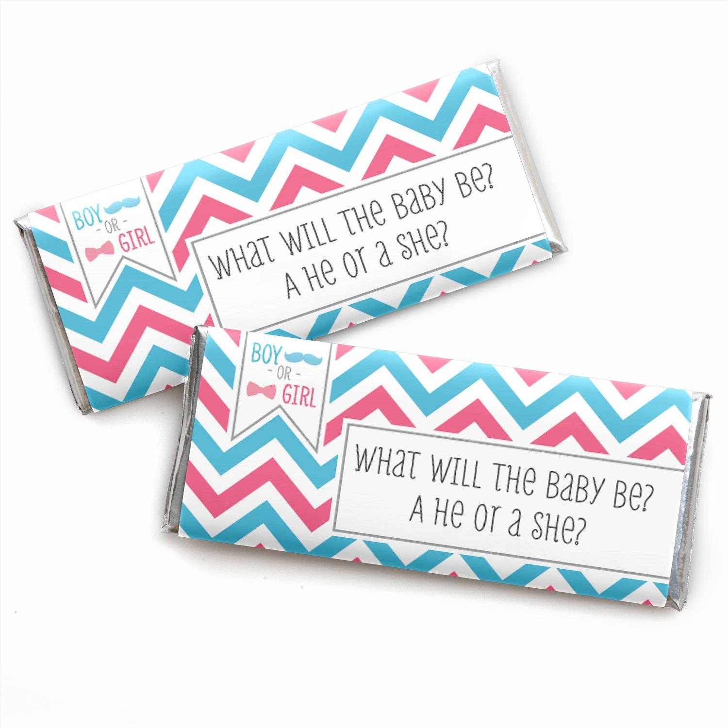 Chevron Gender Reveal - Baby Shower Candy Bar Wrappers Party Favors - Set of 24