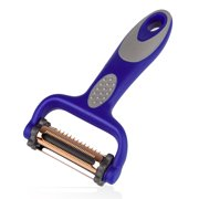 FGY Edge Swivel Peeler with Sharp Serrated Blade Multifunctional 3 in 1 Y Peeler Perfect for Slicing, Julienne and More, Portable 360° Regular Blade Cutter Dishwasher Safe, Blue