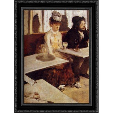 - The Absinthe Drinker 19x24 Black Ornate Wood Framed Canvas Art by Degas, Edgar