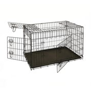 Aleko SDC-3D-42B-UNB 42 in. 3 Doors Folding Dog Crate Cage Kennel with Abs Tray