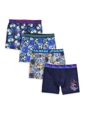 Star Wars Boys Underwear, 4 Pack Athletic Boxer Briefs (Little Boys & Big Boys)