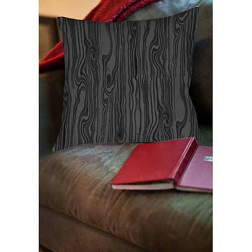 Thumbprintz Wood Grain Large Scale Black Indoor Pillow