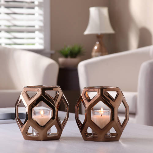 Better Homes and Gardens Ceramic Geometric Votive Candle Holders, Set of 2 by