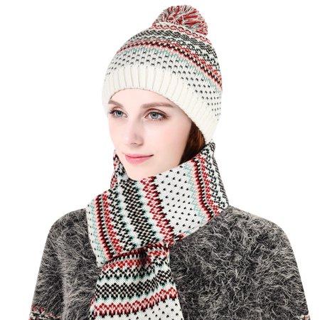 Allcaca - Women Winter Hat Set-Allcaca 2 Pieces set Womens Winter Hat and  Scarf Set Lady Fashion Winter Warm Knitted Hat and Scarf Skullcaps  Valentine s ... ac14c3b5791