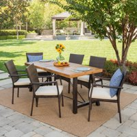 Christopher Knight Home Laguna Outdoor 7-Piece Rectangle Wicker Wood Dining Set with Cushions by
