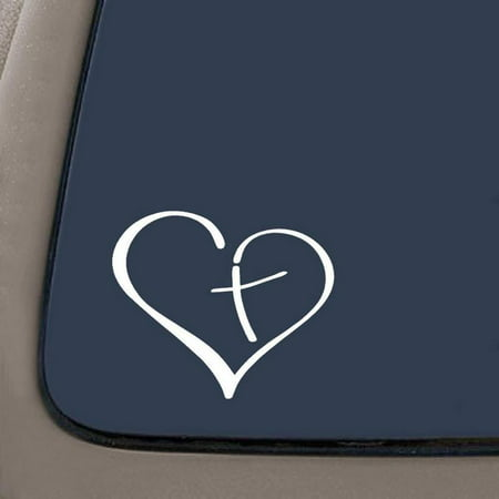 Christian Car Stickers (Heart And Cross Christian Decal Sticker | 5.5-Inches By 4.5-Inches | White Vinyl | Car Truck Van SUV Laptop Macbook Wall)