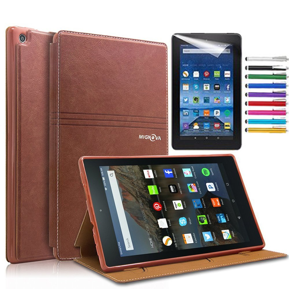 Mignova All-New Amazon Fire HD 8 6th Gen case, Slim Fit Premium Leather with Auto wake/sleep function Cover for Fire HD 8 Tablet (2016 6th Gen Only) + Screen Protector Film and Stylus Pen (Brown)
