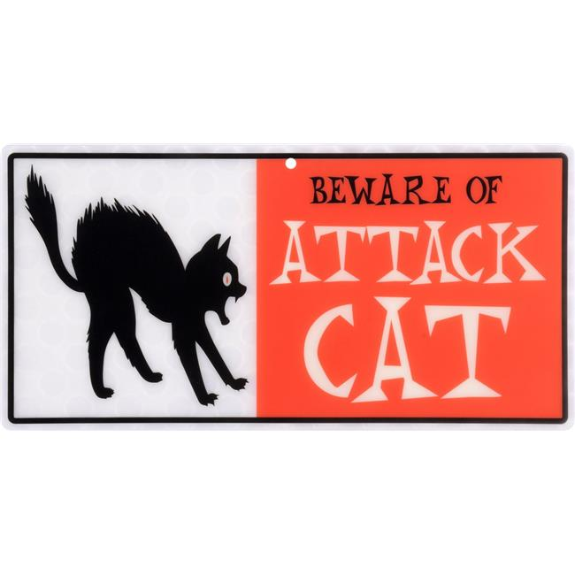 Hillman Group 843339 5 x 10 in. Red & White Lenticular Beware of Attack Cat Sign - 5 Piece - image 1 of 1