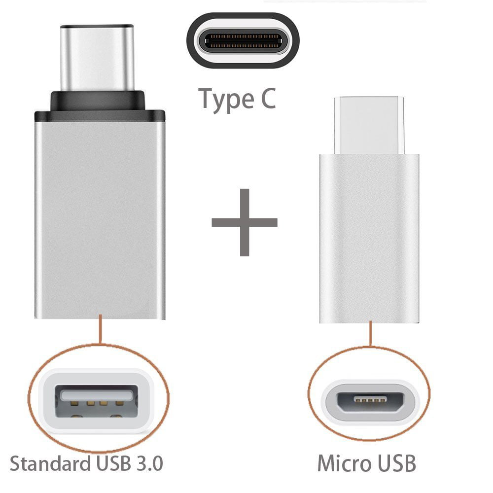[2 in 1 Pack] Type C OTG, EpicGadget(TM) 1 Type C to USB Adapter + 1 Type C to Micro USB Adapter, Converts/Connects USB Type-C input/output to 3.0 USB/Micro USB, For Power/data/File transfer (Silver)