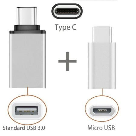 [2 in 1 Pack] Type C OTG, EpicGadget(TM) 1 Type C to USB Adapter + 1 Type C to Micro USB Adapter, Converts/Connects USB Type-C input/output to 3.0 USB/Micro USB, For Power/data/File transfer (Convert Ps2 Keyboard To Usb Without Adapter)