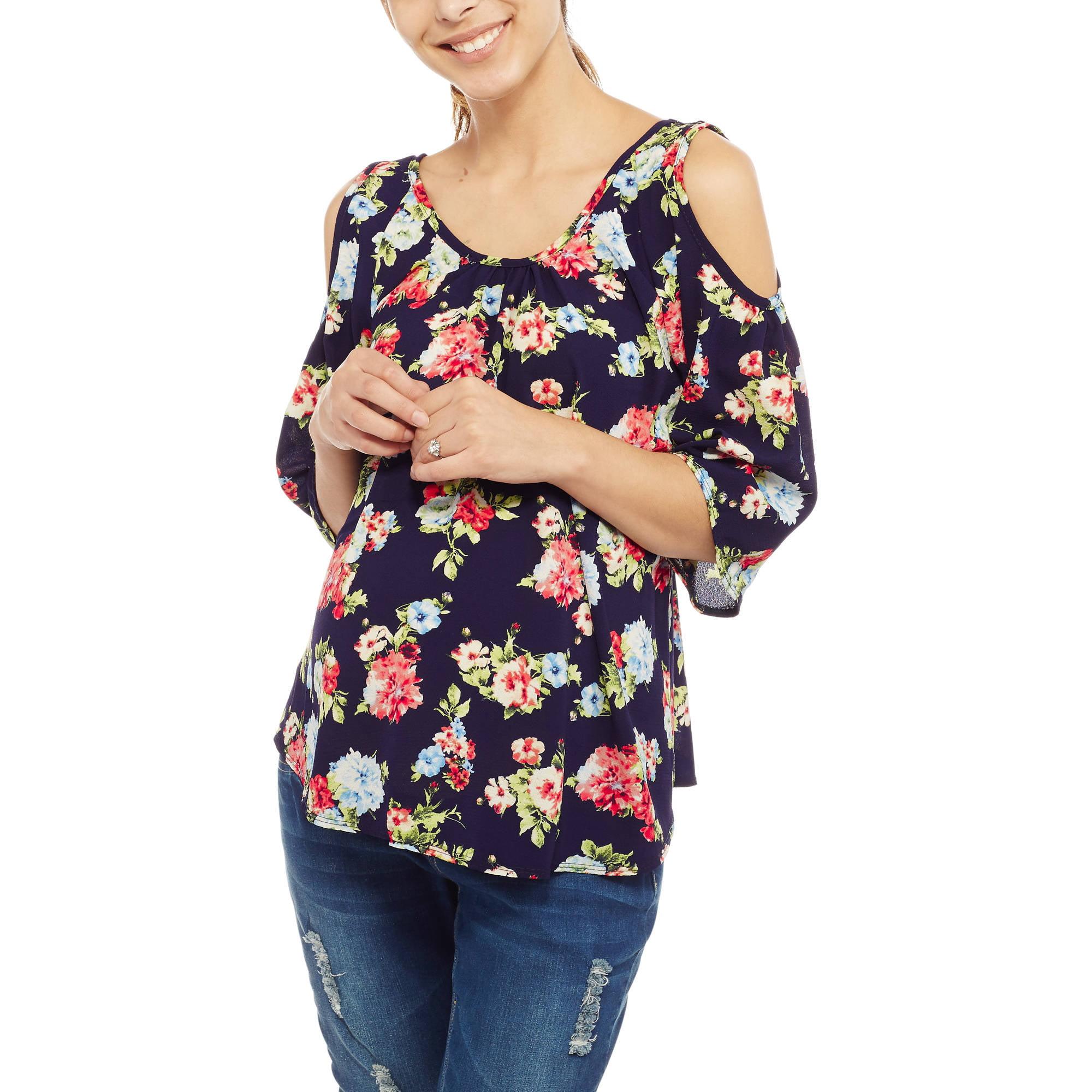 Due Time Maternity Floral Print Cold-Shoulder Top