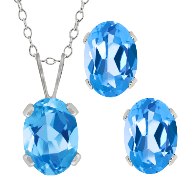 1.90 Ct Oval Swiss Blue Topaz Gemstone Sterling Silver Pendant Earrings Set