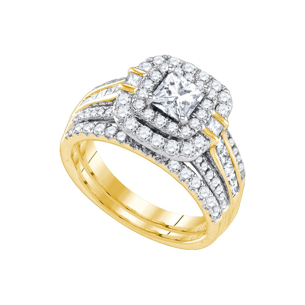14k Yellow Gold Womens Princess Diamond Double Halo Bridal Wedding Engagement Ring Set 2 Cttw by GND