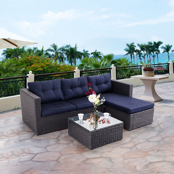 MF Studio 3 Piece Outdoor Rattan Sectional Sofa- Small Patio Wicker Furniture Set (Blue)