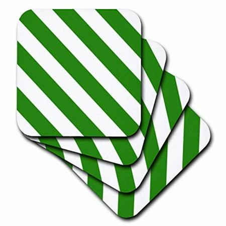 - 3dRose Dark bottle Green and white diagonal stripe pattern. Striped stripy bold simple retro monochrome, Ceramic Tile Coasters, set of 4