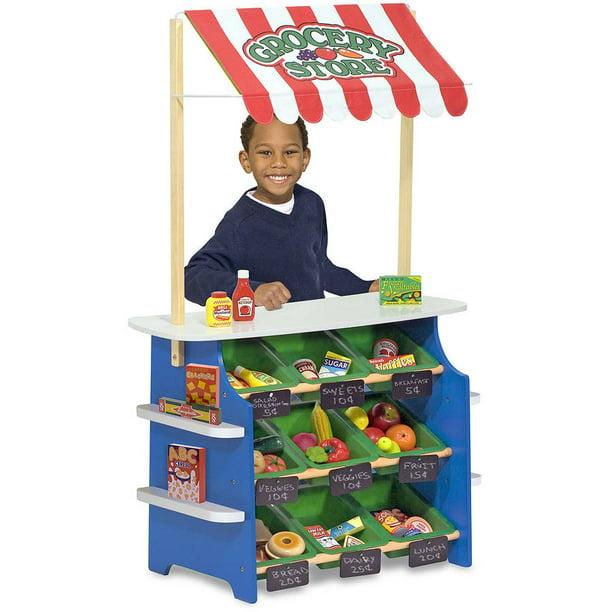 Melissa Doug Wooden Grocery Store And Lemonade Stand Playset Reversible Awning 9 Bins Chalkboards Walmart Com Walmart Com