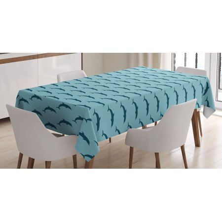 Fauna Series Dolphin (Dolphin Tablecloth, Ocean Fauna Collection Dolphin Silhouette with Blue Color Scheme Abstract, Rectangular Table Cover for Dining Room Kitchen, 60 X 90 Inches, Pale Blue Dark Blue, by Ambesonne )
