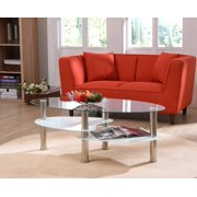 Hodedah Oval Glass 3-Tier Coffee Table, Multiple Colors