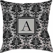 Thumbprintz Damask Monogram Decoratove Pillow, Black and Grey