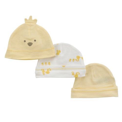 Child of Mine Yellow Duck Layette Caps, Neutral, 3-Pack