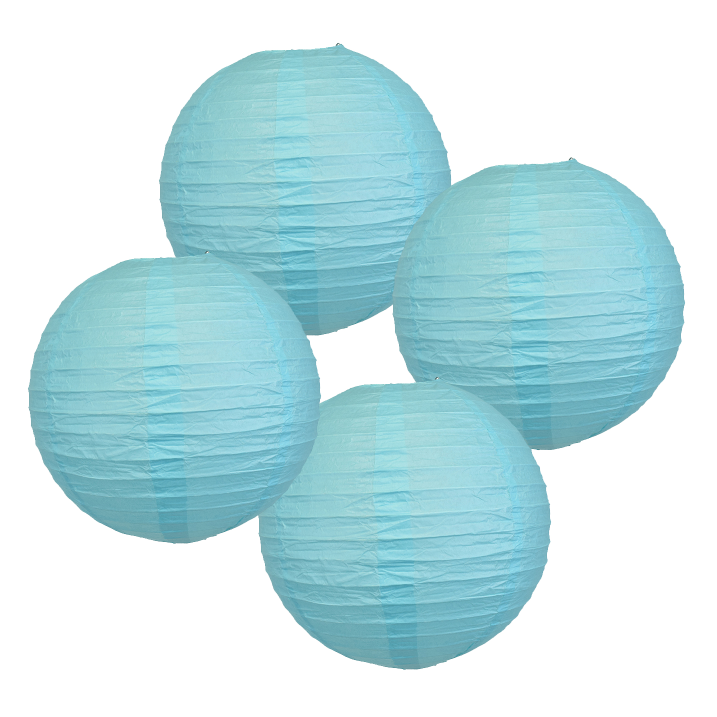 "18"" Baby Blue Paper Lanterns (Set of 4) - Decorative Round Chinese/Japanese Paper Lanterns for Birthday Parties, Weddings, Baby Showers, and Life Celebrations!"