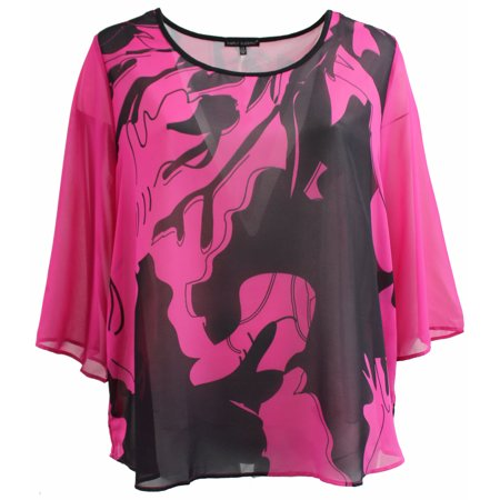 Abstract Blouse - Plus Size Women Two Tone Color Chiffon Abstract Blouse Tee T Shirt Knit Top Lilac Rose Black 1X (17024)