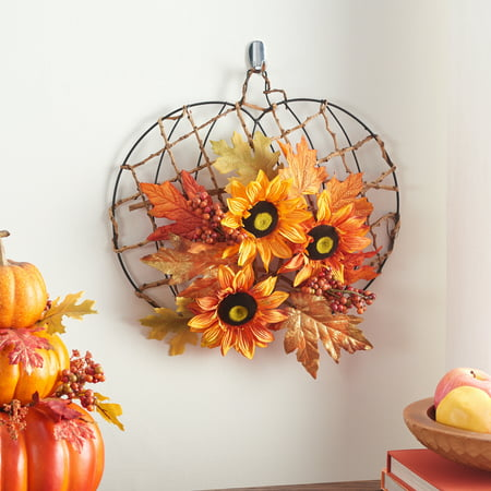 Way to Celebrate Harvest Pumpkin Floral & Orange Sunflower Mix Artificial Flower Arrangement