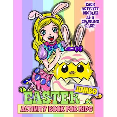 Jumbo Easter Activity Book for Kids: Easter Coloring Book for Toddlers, Preschoolers and Children with Mazes, Crosswords, Word Searches, Spot the Diff for $<!---->