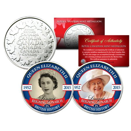 QUEEN ELIZABETH *Longest Reigning* Set of 2 Royal Canadian Mint Medallion (Elizabeth Ii Dg Reg Fd 1981 Coin Value)