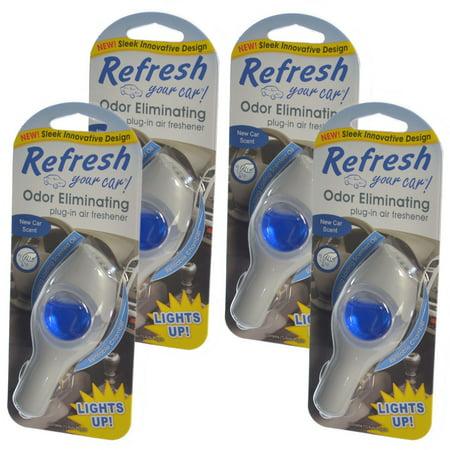 Refresh Your Car Odor Eliminating refillable Plug-In Air Freshener, New Car