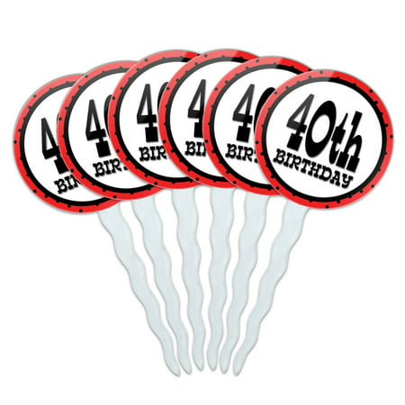 40th Fortieth Birthday Red Black Polka Dots Cupcake Picks Toppers - Set of 6 - Polka Dots Cupcakes