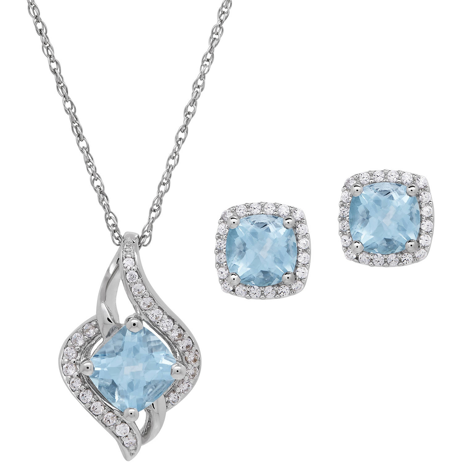 Cushion-Cut Blue Topaz & CZ Accent Sterling Silver Pendant and Earrings Set, 18 Chain