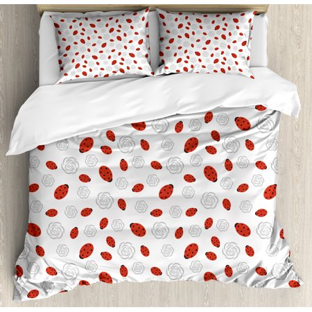 Kids Silhouette (Ladybugs Duvet Cover Set, Abstract Flower Silhouettes Nature Illustration Children Cartoon Style, Decorative Bedding Set with Pillow Shams, Vermilion Black Grey, by)
