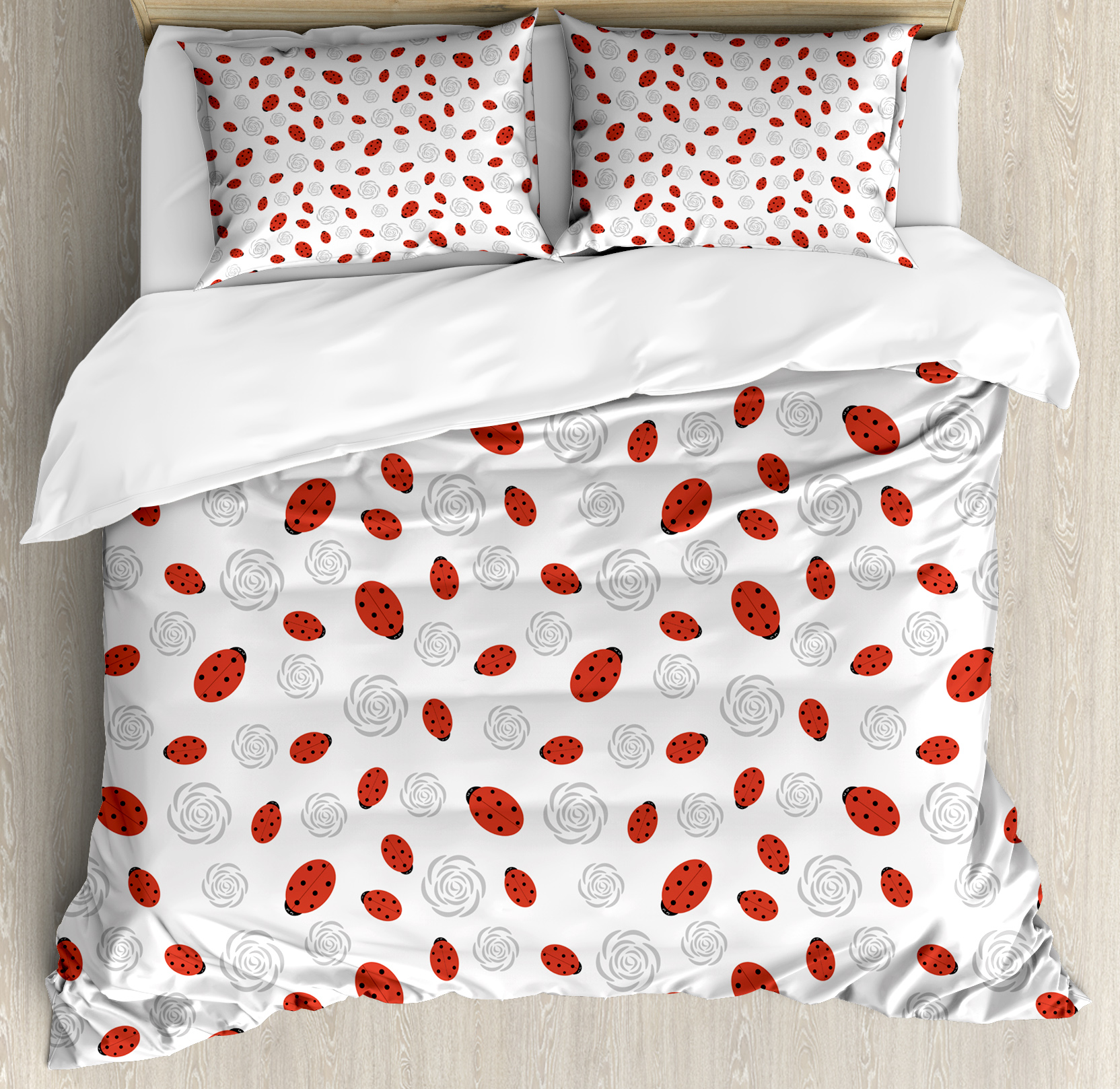 Ladybugs Duvet Cover Set, Abstract Flower Silhouettes Nature Illustration Children Cartoon Style, Decorative Bedding Set with Pillow Shams, Vermilion Black Grey, by Ambesonne