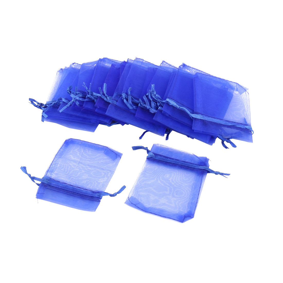 Organza Drawstring Design Jewelry Pouch Wedding Gift Bag Blue 25 Pcs