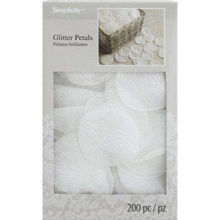 Simplicity Glitter Artificial Flower Petals, 200 Count - Fake Flower Petals