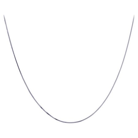 Gem Avenue Sterling Silver Rhodium Plated 1mm Box Chain Necklace with Spring Ring Clasp