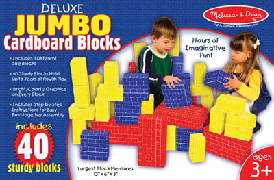 Deluxe Jumbo Cardboard Blocks 40 pc Set by Melissa & Doug