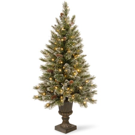 Footed Urn - National Tree Pre-Lit 4' Glittery Bristle Pine Entrance Artificial Christmas Tree with White Tipped Cones in a Dark Bronze urn with 100 Clear Lights