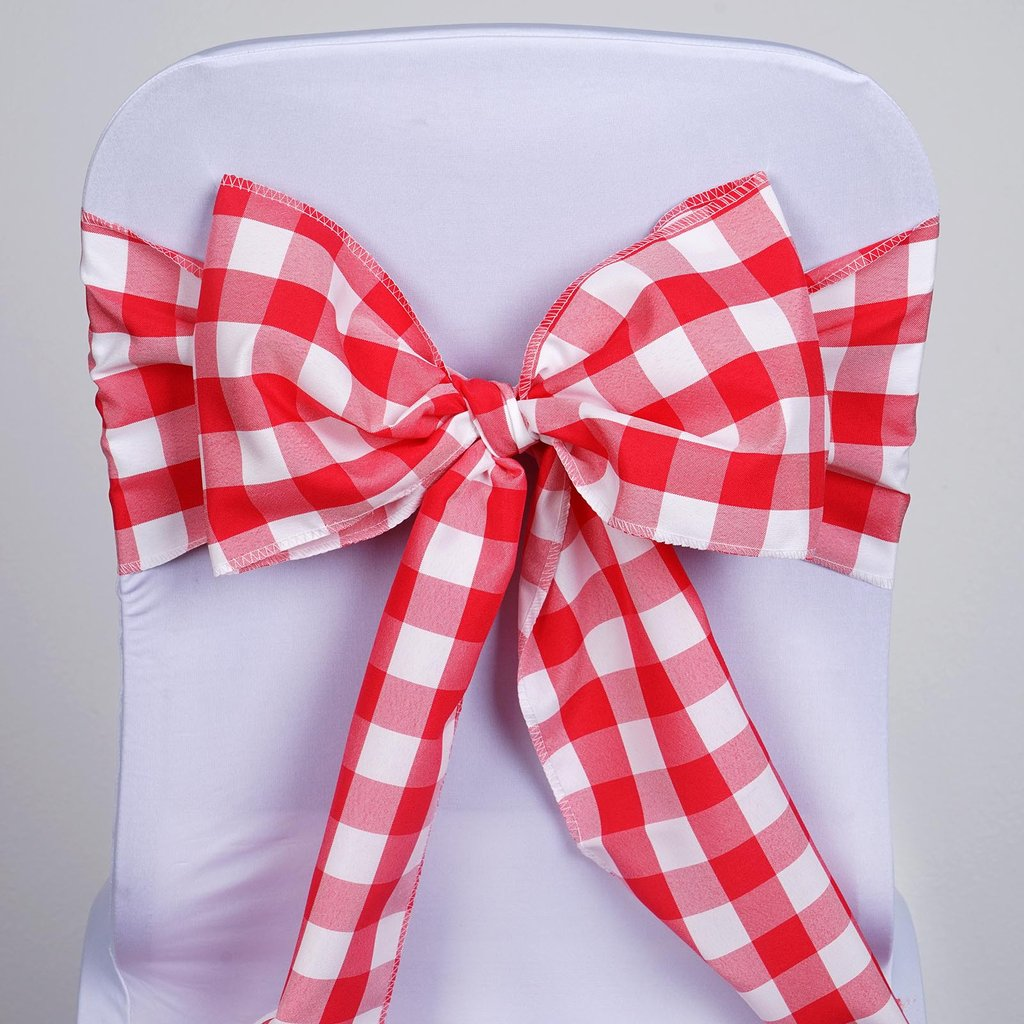 Black and White Check Checkered Chair Bow