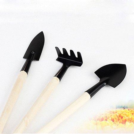 1Set Mini Small Shovel Rake Spade Wood Handle Metal Head Kids - Head Rake Handle
