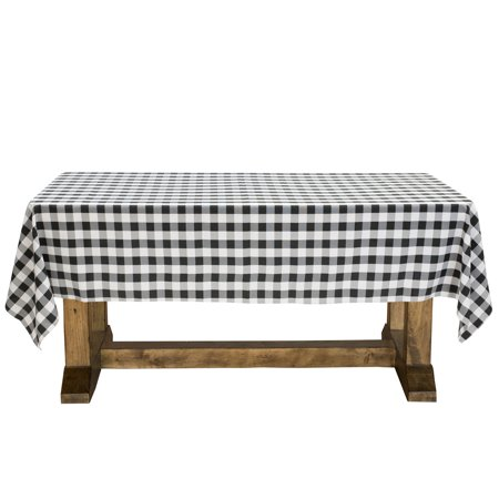 Lann's Linens - Black & White Checkered Tablecloth - Premium Polyester Picnic Table Cover - Gingham Cloth - Checkered Table Covers