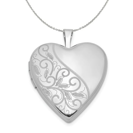Sterling Silver 20mm Scrolled Heart Locket Necklace