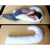 """Deluxe Comfort """"J"""" Full Body Pillow – Total Body Length – Prenatal Pregnancy Pillow – Hypoallergenic Synthetic Fiber Filler – Body Pillow, White"""