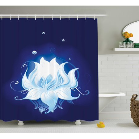 Floral Shower Curtain Zen Lotus With Dew Drops Reflected In Dark Water Background Yoga Spirit Image